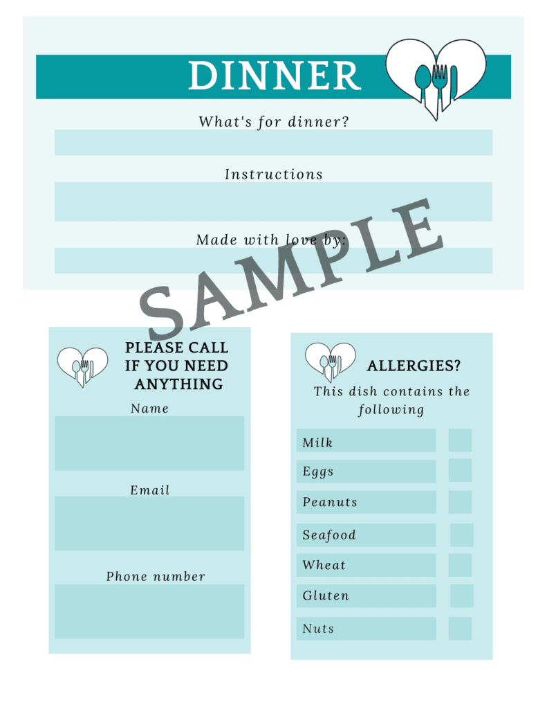 how to start a meal train printable menu instructions and allergies tags