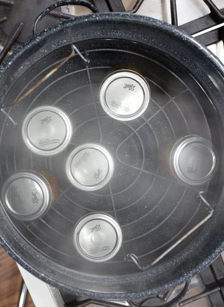 canned cowboy candy jars in a waterbath canner