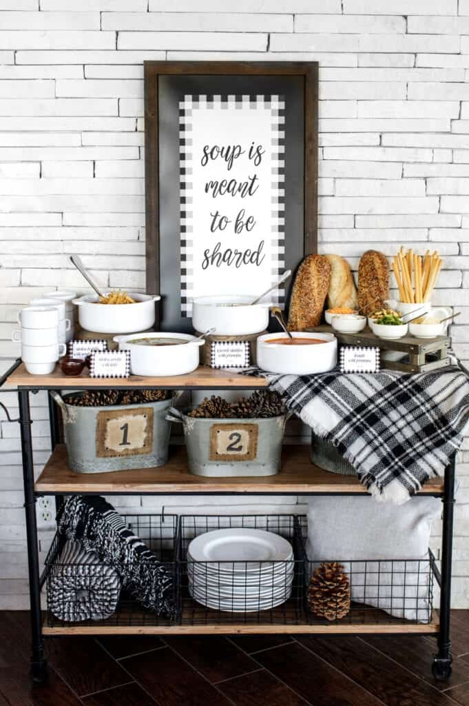 dinner party themes: soup party set up on a bar area