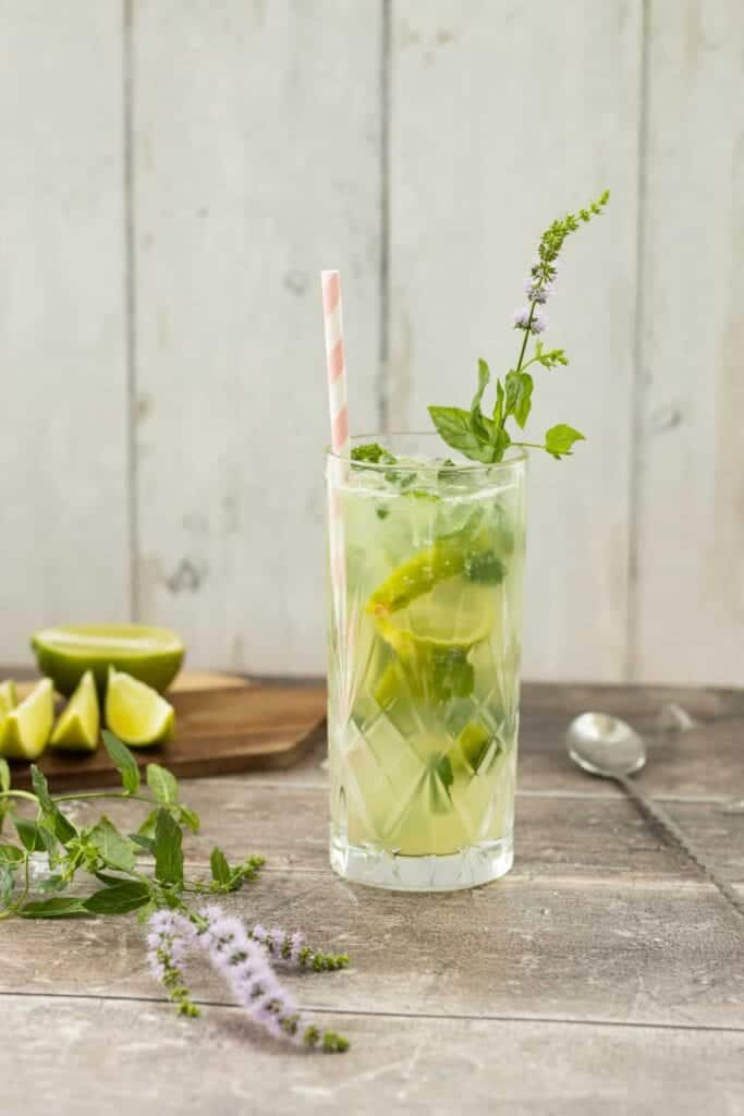 Mojito spring Mocktail in a glass with limes and ming
