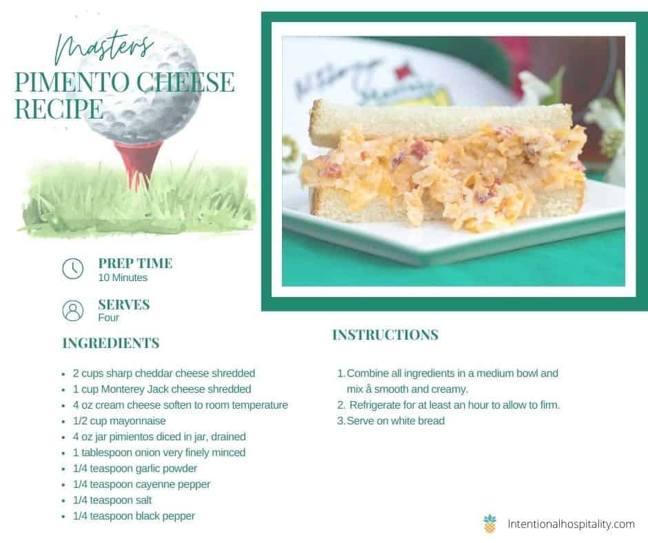 masters famous pimento cheese recipe card